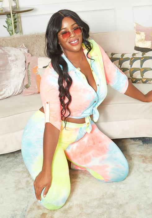 Asoph Plus Size Rainbow Tie Dye Collar Blouse & Leggings Set