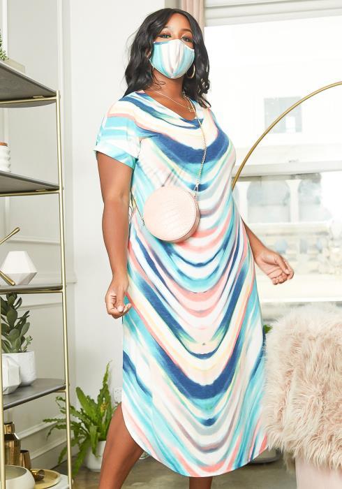 Asoph Plus Size Marble Print V Neck Midi Dress With Mask