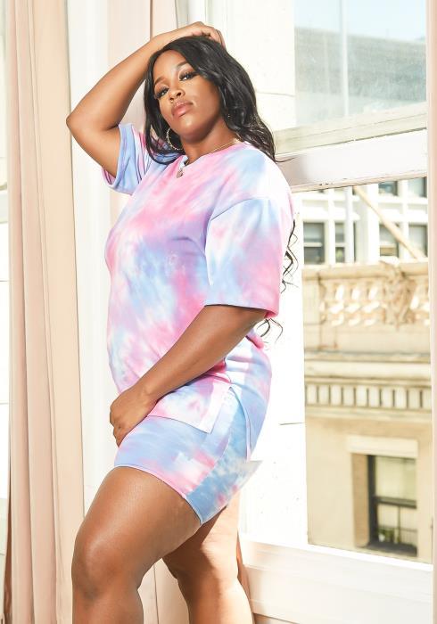 Asoph Plus Size Cotton Candy Tie Dye Lounging Set
