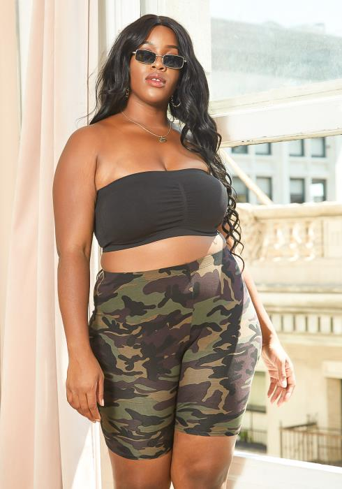 Asoph Plus Size Camo Fitted Biker Shorts