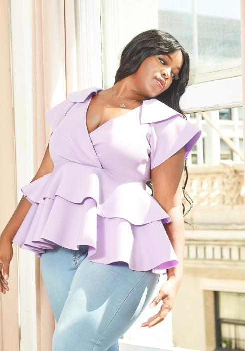Asoph Plus Size Tiered Peplum Blouse Top