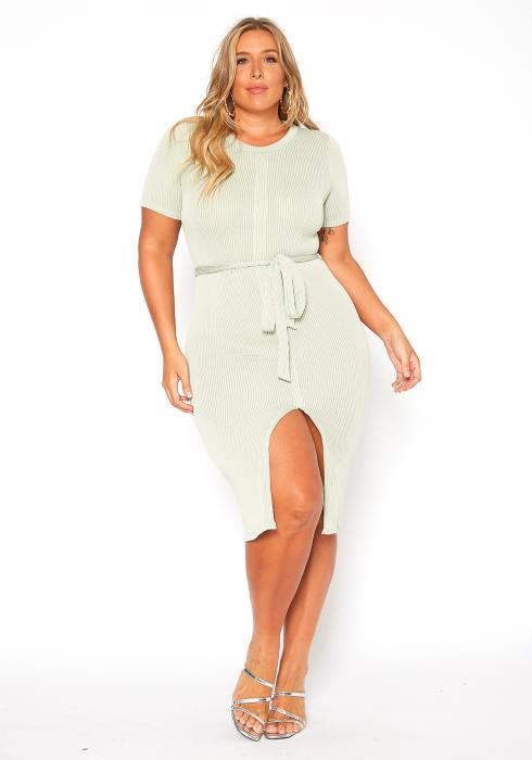 Asoph Plus Size Basic Short Sleeve Slit Hem Knit Dress