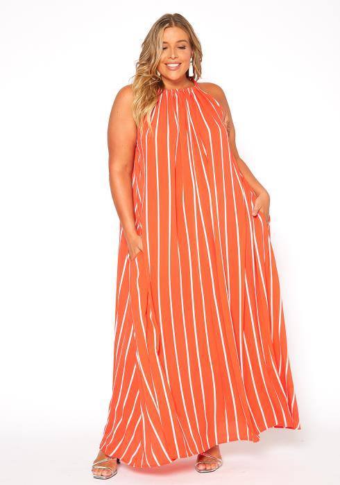 Asoph Plus Size Haltered Stripe Maxi Dress