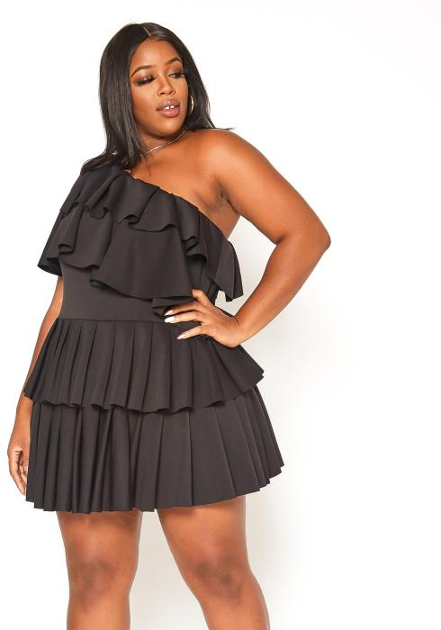 Asoph Plus Size One Shoulder Tiered Mini Dress