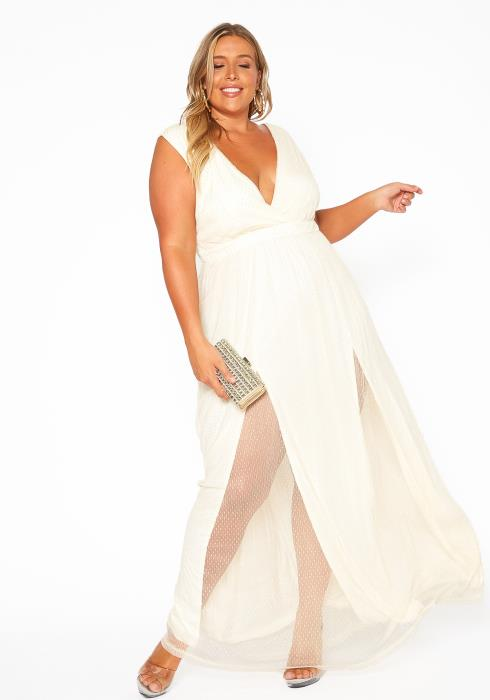 Asoph Plus Size Sleeveless Empire Maxi Evening Dress