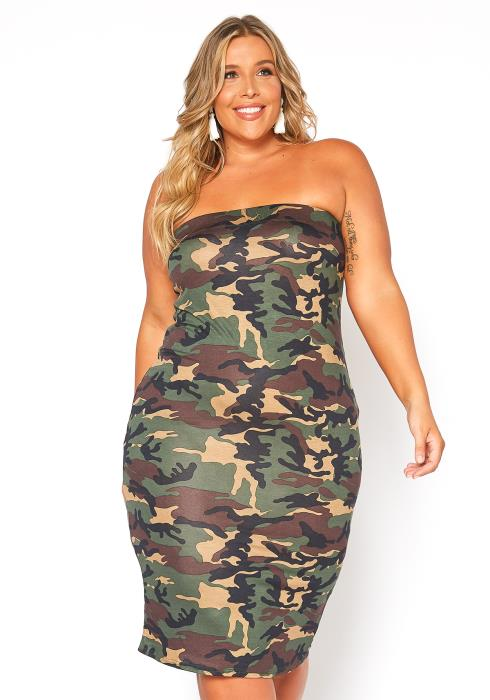 Asoph Plus Size Camo Tube Fit Bodycon Dress