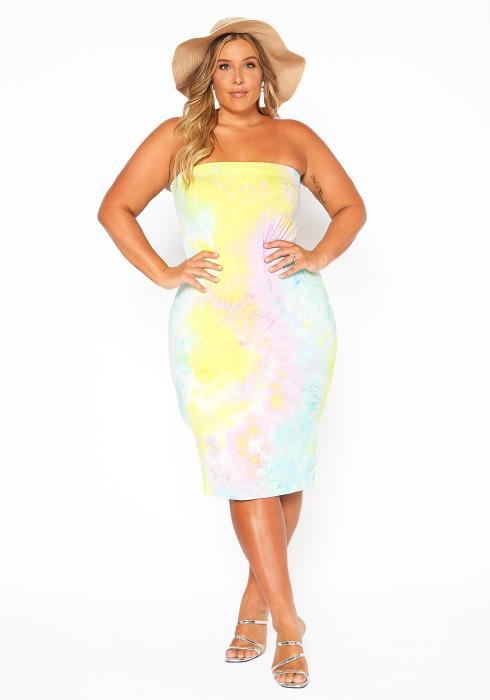 Asoph Plus Size Pastel Tie Dye Tube Top Bodycon Dress