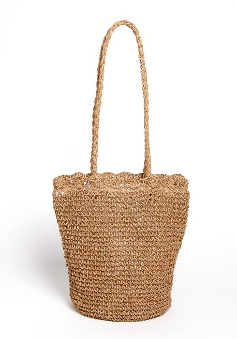 Sidell Tan Straw Tote