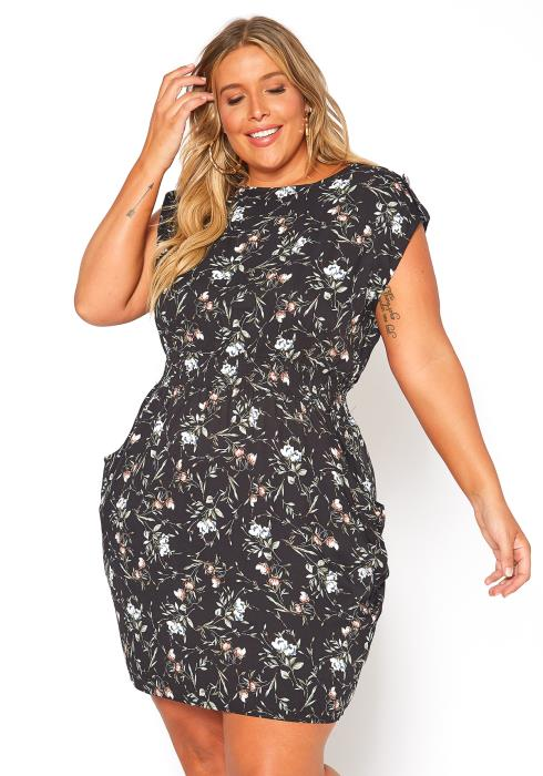 Asoph Plus Size Floral Casual Mini Sleeveless Dress