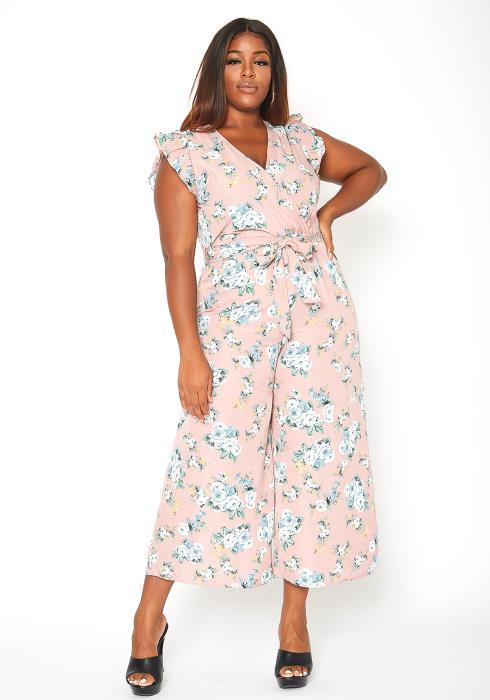 Asoph Plus Size Floral Print Wide Leg Jumpsuit