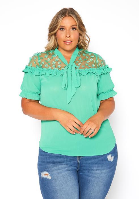 Asoph Plus Size Lace Contrast Ruffle Blouse Top