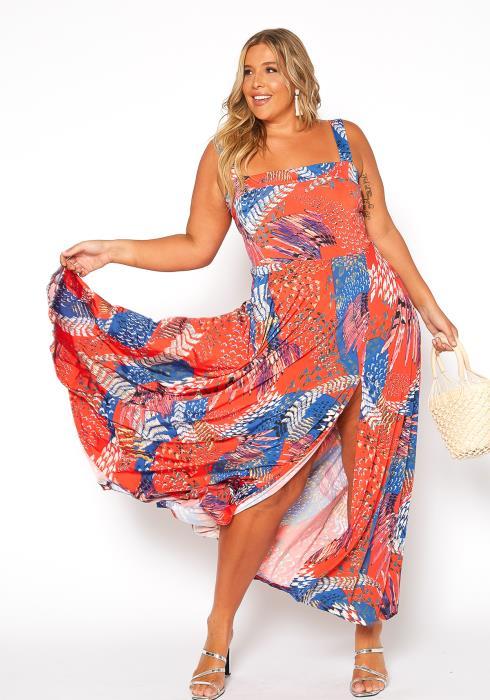 Asoph Plus Size Multi Print Slit Hem Square Neck Sun Dress