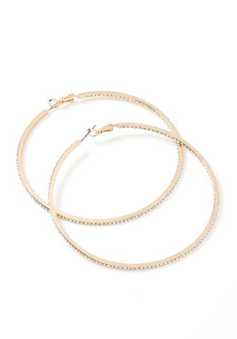 Julia Silver Crystal Medium Hoop Earrings