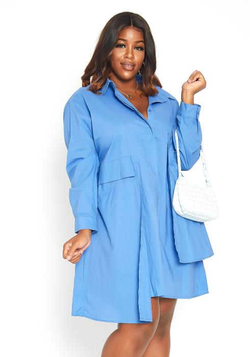 Asoph Plus Size Sky Blue Oversized Collar Mini Dress