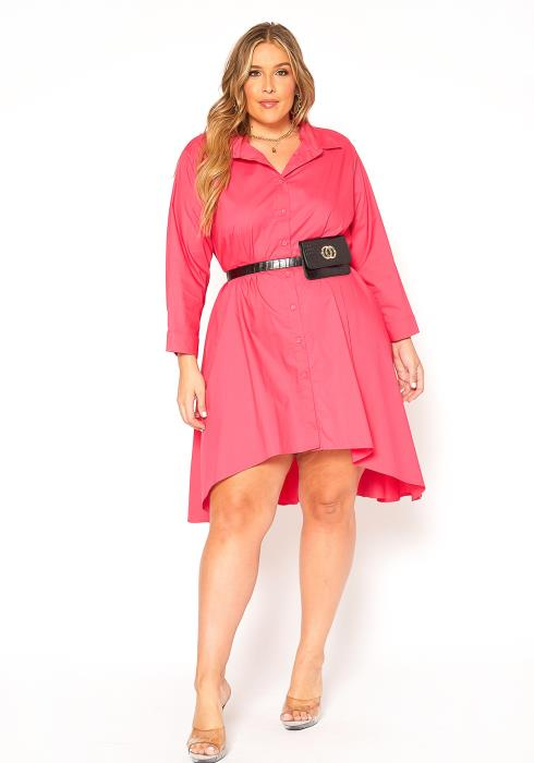 Asoph Plus Size Oversized Button Up Shirt Dress