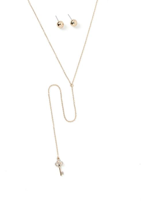 Gracious Key Charm Necklace & Earring Set