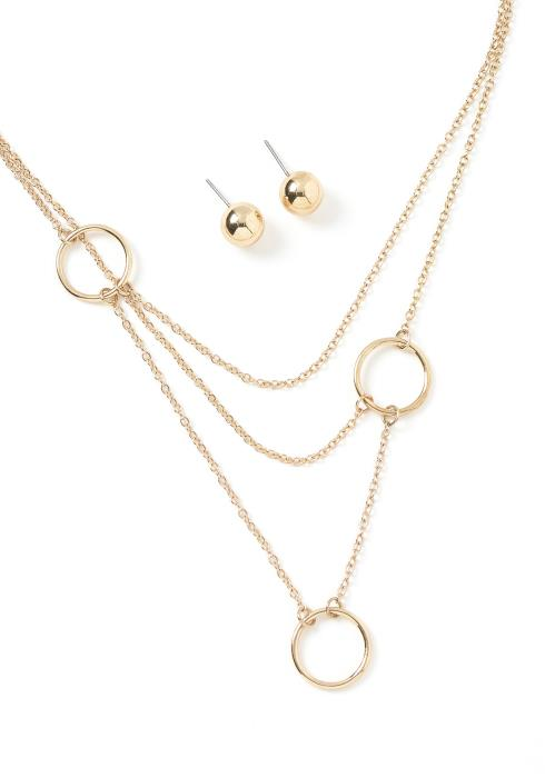 Maddison Linked Rings Necklace & Earrings Set