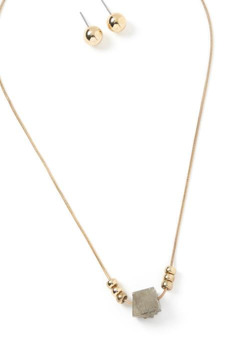 Ember Simple Charm Necklace & Earring Set