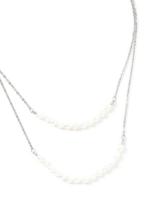 Ariel Silver Pearl Hinted Tier Necklace