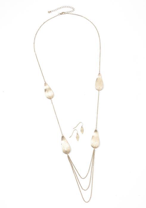 Esmerald Gold Necklace & Earrings Set