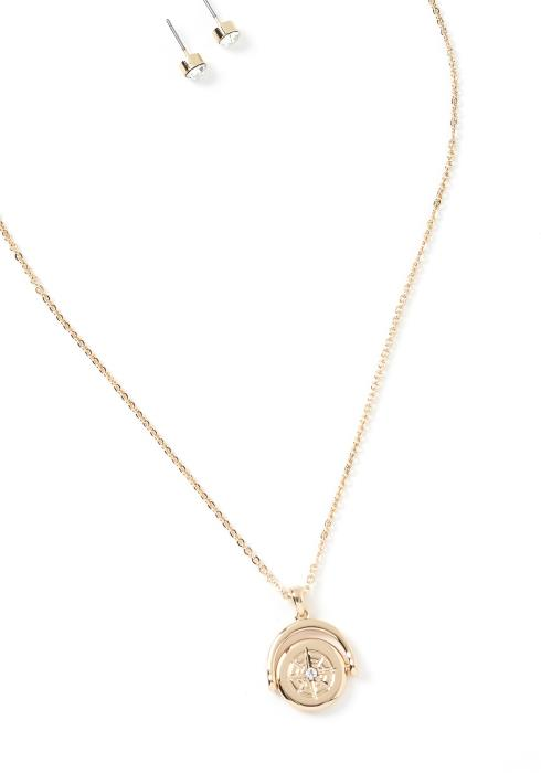 Aspen Compass Charm Necklace & Earrings Set