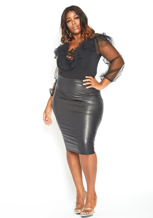 Asoph Plus Size High Rise Faux Leather Pencil Skirt