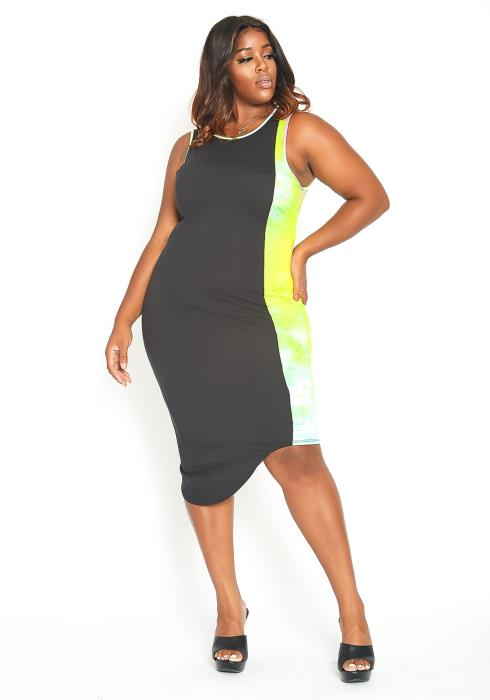 Asoph Plus Size Tie Dye Splice Bodycon Tank Dress