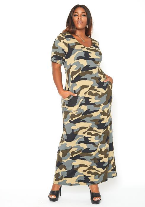 Asoph Plus Size Camo Print Daily Maxi Dress