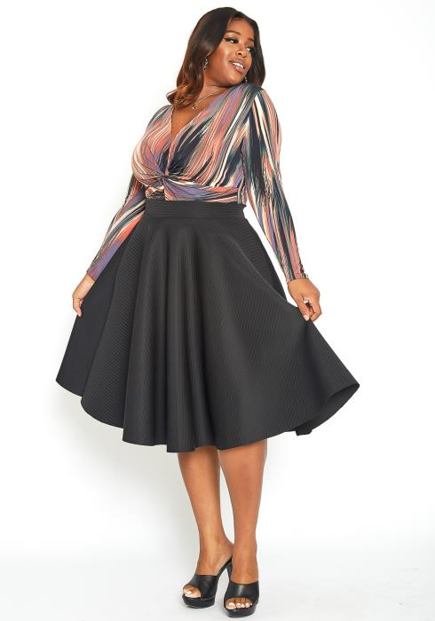 Asoph Plus Size High Waisted Circle Midi Skirt
