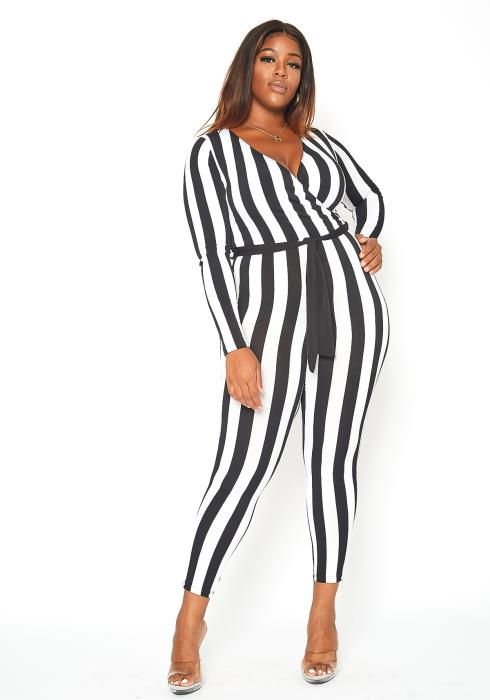 Asoph Plus Size Vertical Stripe Fitted Wrap Jumpsuit