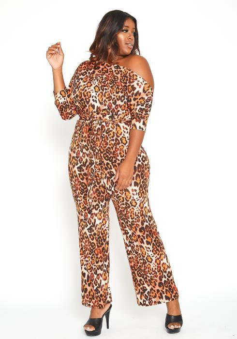Asoph Plus Size Leopard Print Cold Shoulder Jumpsuit