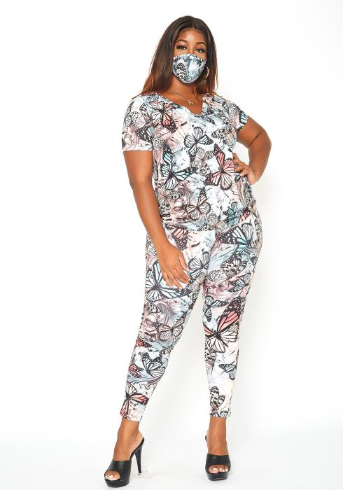 Asoph Plus Size Butterfly Set With Mask