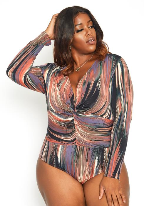 Asoph Plus Size Multi Print Long Sleeve Bodysuit