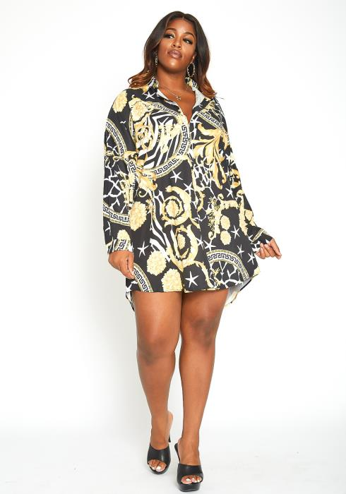 Asoph Plus Size Born To Be Famous Multi Print Collar Mini Dress