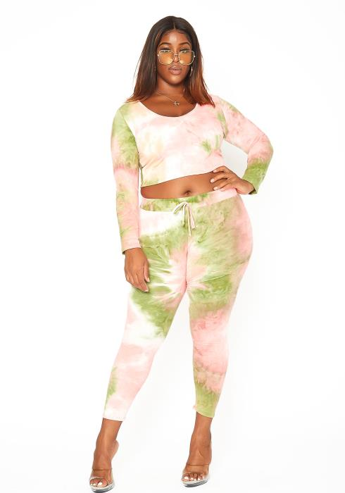 Asoph Plus Size Olive Tie Dye Lounging Set