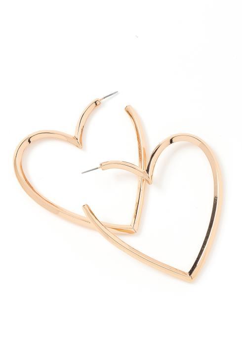 Eden Heart Shape Golden Hoop Earrings