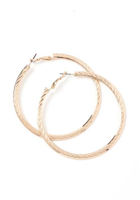 Mariah Golden Twist Textured Hoop Earrings