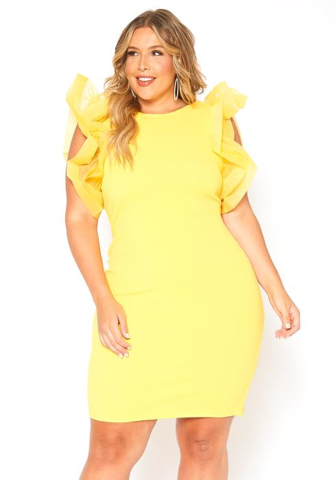 Asoph Plus Size Fabulous Shoulder Puff Mini Dress