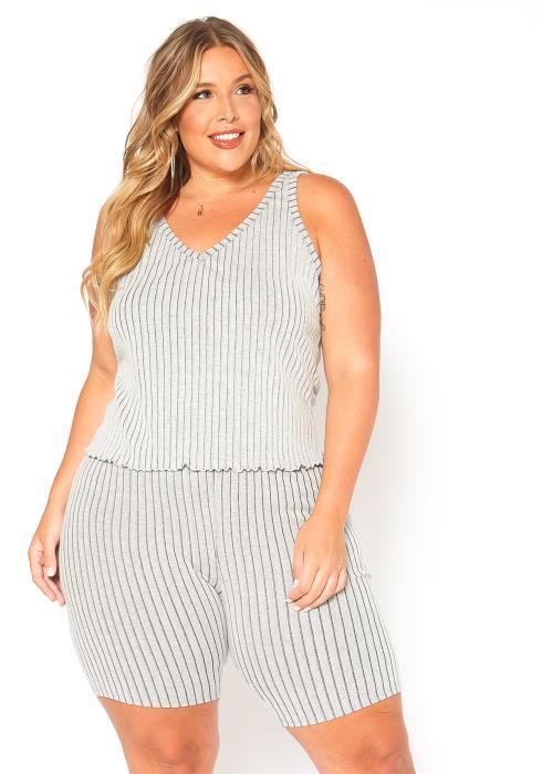 Asoph Plus Size Ribbed Knit Sleeveless Stripe V-Neck Top