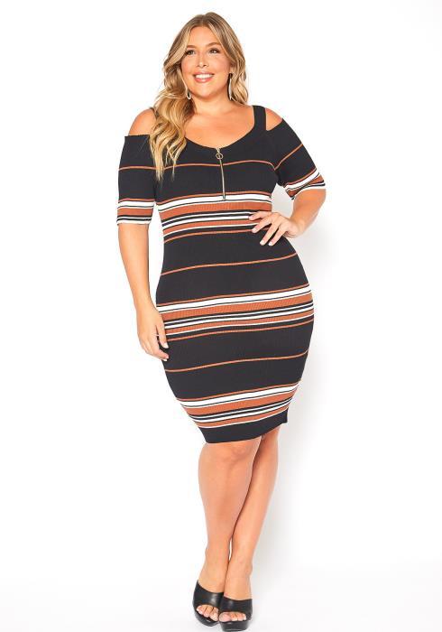 Asoph Plus Size Multi Stripe Knit Dress