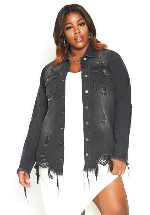 Asoph Plus Size Washed Up Detail Distress Denim Jacket