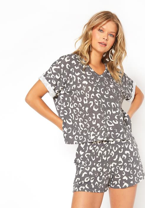 ENCREME Cheetah Print PJ Lounge Set