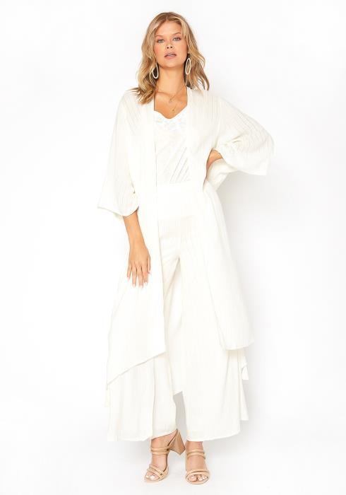 En Creme Shimmer Hinted Wide Sleeve Longline Cardigan