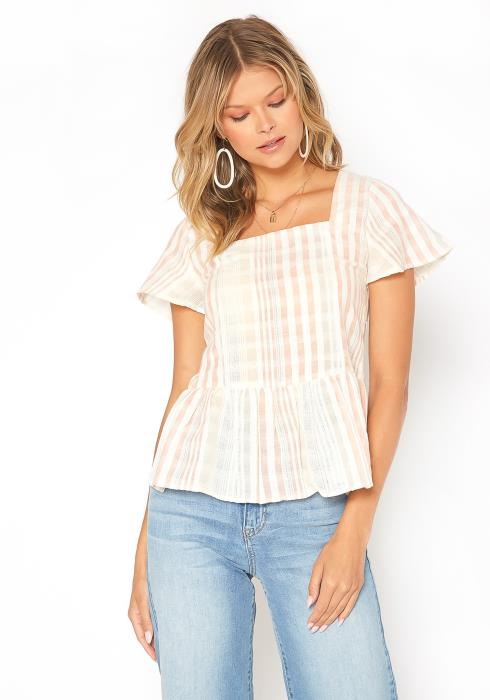 En Creme Striped Square Neck Peplum Top