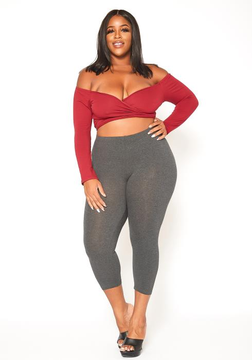 Asoph Plus Size Classic Everyday Gray Mid Rise Leggings