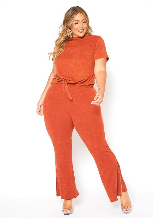 Asoph Plus Size Light Knit Two Piece Lounging Set