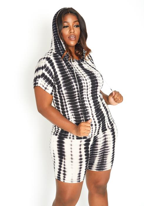 Asoph Plus Size Gradient Tie Dye Hooded Sweatshirt & Biker Shorts Set