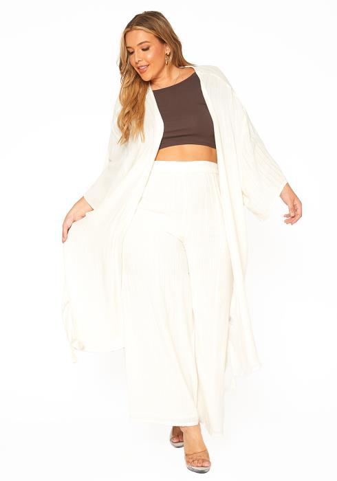 ENCREME Plus Size Shimmer Hinted Wide Sleeve Cardigan