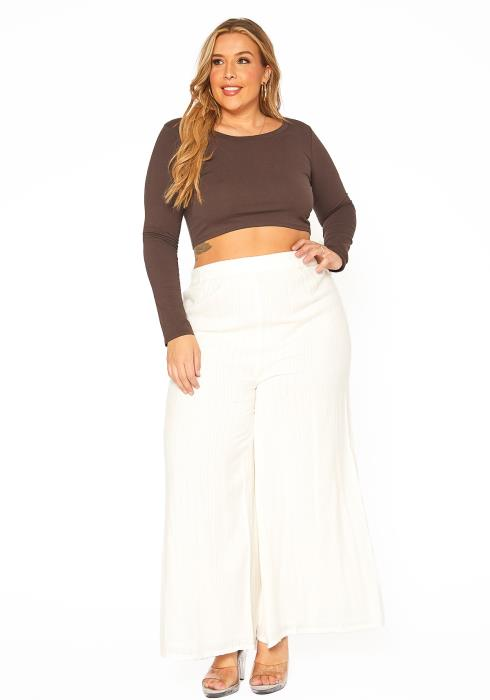 En Creme Shimmer Hinted Wide Leg Pants