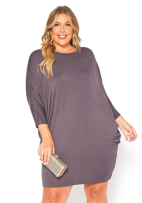 Asoph Plus Size Basic Dolman Sleeve Mini Dress